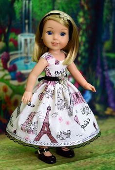"""""""Paris"""" Dress Outfit for American Girl Wellie Wishers Hearts 4 Hearts #LuminariaDesigns"""
