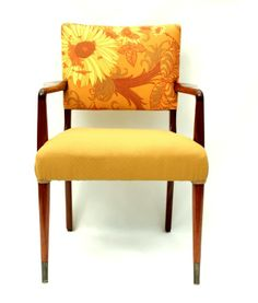 1950s Easy Chair with Retro Sunflowers Upholstery