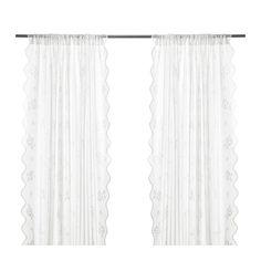 IKEA - MYRTEN, Gordijn met kantwerk, 1 paar, , De gordijnen met kantwerk laten daglicht door, maar gaan inkijk tegen. Perfect voor een laag-over-laagoplossing voor je ramen.Door de tunnel aan de bovenkant kan je de gordijnen direct aan een gordijnroede hangen.
