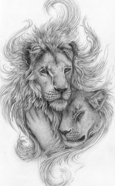 Lion tattoos hold different meanings. Lions are known to be proud and courageous creatures. So if you feel that you carry those same qualities in you, a lion tattoo would be an excellent match Lions Tattoo, Animal Drawings, Art Drawings, Pencil Drawings, Lion Love, Paar Tattoos, Desenho Tattoo, Lion Art, Trendy Tattoos