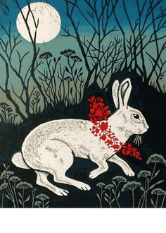 White Rabbit ~ Linocut ~ Teresa Winchester