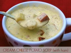 Cream Cheese Potato Soup with Ham. An easy, creamy potato soup with cream cheese and dill that is special enough for guests but simple enough to serve any time! Can easily be made meatless. Cream Cheese Potatoes, Ham And Potato Soup, Creamy Potato Soup, Ham Soup, Soup With Ham, Soup Recipes, Cooking Recipes, Budget Recipes, Family Recipes