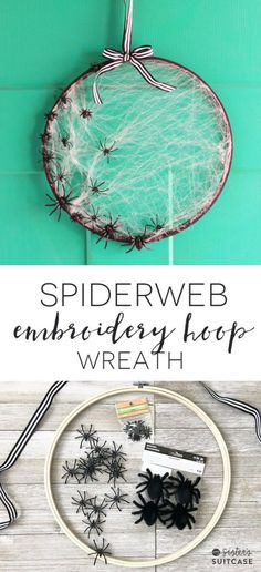 Make this simple Halloween Spiderweb wreath with a wooden embroidery hoop in only 15 minutes! Get the tutorial and more Halloween decor ideas here. Halloween with Kids Theme Halloween, Halloween Projects, Diy Halloween Decorations, Holidays Halloween, Spooky Halloween, Halloween Treats, Halloween Labels, Halloween Pumpkins, Halloween Stuff