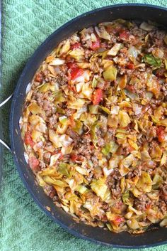 Amish One Pan Ground Beef and Cabbage Skillet needs just a little tweaking to be Whole 30, but still yummy!