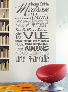 Apply this Dans cette Maison In this house - French version in any flat surface walls windows doors furniture Deco vinyl for your home Size Size x cm x inches French Signs, French Quotes, Magic Words, Bathroom Art, Home Wallpaper, Positive Attitude, Wall Quotes, Wisdom Quotes, Texts