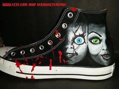631a87d534b8f8 Chucky and Bride Of Chucky Custom Painted Classic Horror Movies Vans  Converse Toms shoes. Bloody