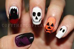 halloween goth nail mani skulls manicure art