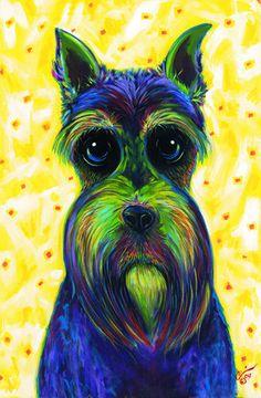 Miniature Schnauzer Dog Open Edition Signed by WAKEFIELDARTS, $7.50