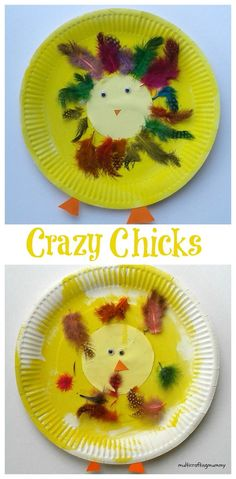 Paper plate arts and crafts activity for kids to make crazy chicks using coloured feathers. Ideal Easter or Spring activity for toddlers and preschoolers.