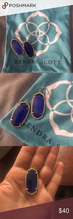 Kendra Scott Elle Earrings Beautiful royal/cobalt blue Kendra Scott Elle Earrings! They're beautiful in all types of lighting. No backs with them but comes with a Kendra Scott cleaning bag! Kendra Scott Jewelry Earrings