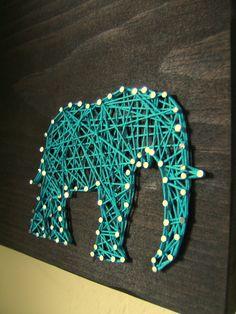 Modern String Art Wooden Tablet - Elephant SIlhouette via Etsy.