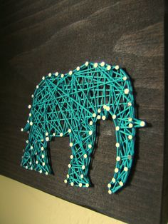 Modern String Art Wooden Tablet - Elephant SIlhouette via Etsy.