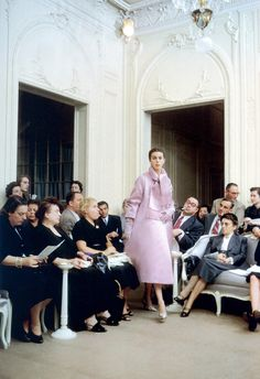 """Odile in Dior's ensemble called """"Cortége"""", Autumn/Winter collection H-line 1954, photo by Mark Shaw, Paris."""