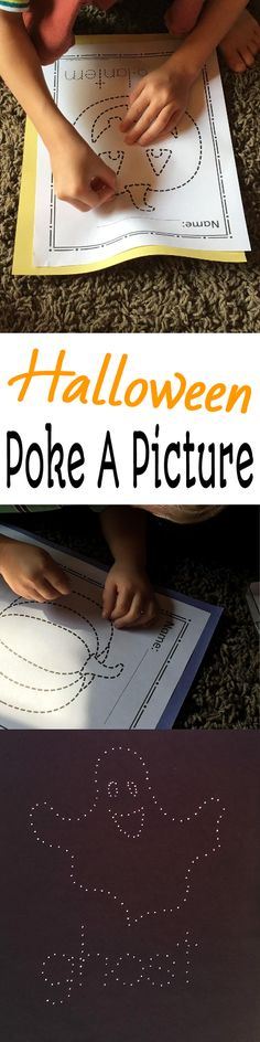Looking for a fun activity this Halloween season?  Your kids will love working with tacks to poke pictures and hang them in the windows!