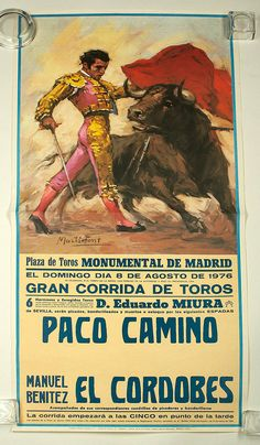 Vintage Original 1976 Advertising Poster in Spanish for Picador Paco Camino's Bull Fight at the Plaza de Toros in Madrid