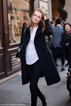 #black coat #2dayslook #alice257891 #blackjacket http://pinterest.com/alice257891