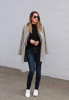 faux fur coat, denim, white sneakers