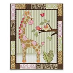 Jungle Jill Giraffe Baby Girl Nursery Art Print