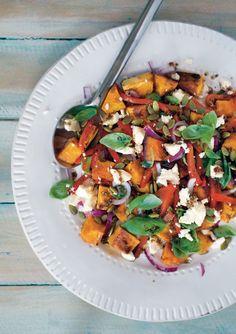 Roasted Pumpkin, Capsicum, Basil and Feta Salad