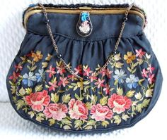 Antique Black Satin Hand Embroidered Purse Roses Heavily Beaded Frame Clasp