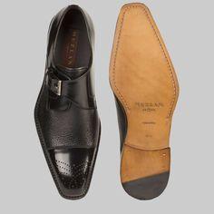 492e237966 Mezlan Men s Shoes Phoenix Black Calfskin   Deerskin Monk Strap Loafers  (MZ2032)