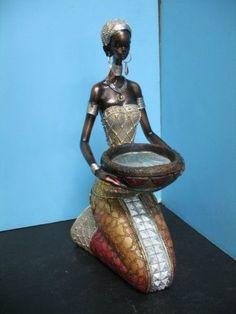 Black African Lady Women Figurine Statue Decor Home bar Set New.