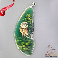 HAND PAINTED OWL BIRD AGATE SLICE GEMSTONE DIY NECKLACE PENDANT ZZ60 00316