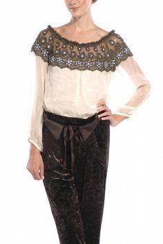 Lace Trim Neckline Blouse - Ravishing & Rugged