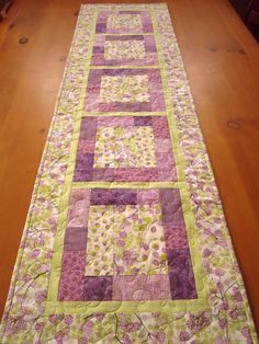 Quilted Table Runner Purple Floral | Quilt table runners