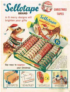 SELLOTAPE CHRISTMAS TAPE AD Vintage Bambi Vintage Advertising 1959 Original