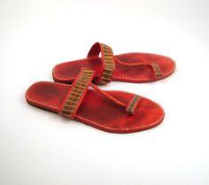 Red Leather Sandals Vintage 1980s T Strap Snakeskin