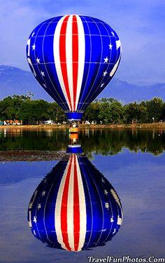 Hot Air Balloons - Patriotic Red White & Blue - Prospect Lake, Colorado Springs, Colorado, USA