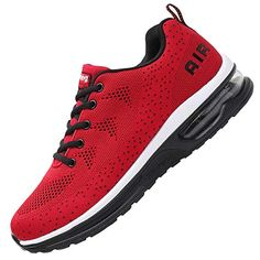 4a4610cec41 MEHOTO Mens Fashion Lightweight Tennis Walking Shoes Sport Air Fitness Gym  Jogging Running Sneakers Red 7.5