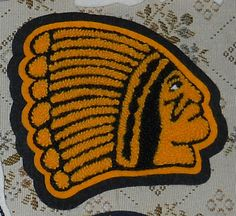 Vintage INDIANS Chenille Patch for Coat/Varsity Jacket-High School-HEADRESS!!