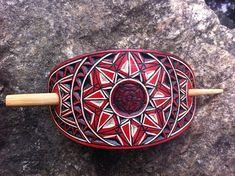 Red Pentagram flower hand carved hair barrette