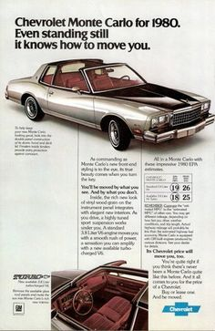 1980 Chevy Monte Carlo T-top ad.  Nice color scheme