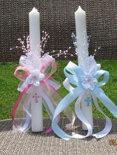 Items similar to Baptism Christening Baby Boy/Girl Gown Cross Candle 2 Piece Set on Etsy Baby Boy Baptism Gifts, Baptism Party, Baby Christening, Baby Gifts, Baptism Ideas, Girl Baptism, Baptism Candle, Baptism Centerpieces, Communion