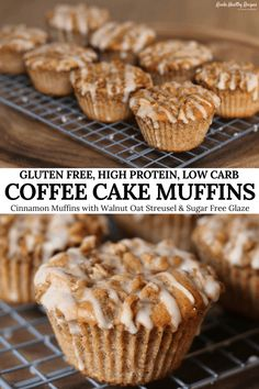 You'll never know these coffee cake muffins are gluten free. And they have 8 grams of protein, 8 grams of carbs, and just 120 calories each! Gluten Free Bagels, Gluten Free Muffins, Healthy Muffins, Gluten Free Baking, Healthy Sweets, Healthy Baking, Healthy Breakfasts, Eating Healthy, Healthy Snacks