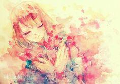 #original #illustration #watercolor #girl #イラスト #赤
