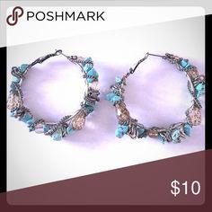 Turquoise Silver Hoops Neat turquoise hoop earrings! Jewelry Earrings