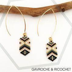Boucles d'oreilles en perles miyuki sur grands crochets en laiton doré