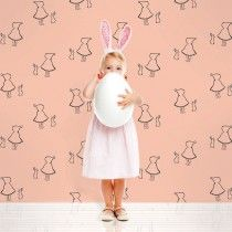 """""""bunny up pink peel and stick wallpaper"""""""
