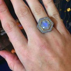 Moonstone moonshine  #likabeharcollection #likabehar #moonstone #diamond #24k #gold #ring #oxidizedsilver #jewelryaddict #finejewelry #love #everydayjewelry