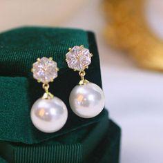 Wedding Bride Maids Elegant Zirconia Crystal Dangle Earrings For Women Pearl Earrings Wedding, Pearl Drop Earrings, Pearl Jewelry, Women's Earrings, Shape Patterns, Jewelry Branding, Fashion Earrings, Wedding Bride, Dangles