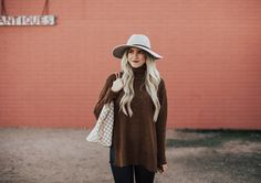10 Sweaters to Last You Through Winter   Oversized sweater   cozy sweater   sweater and leggings   how to style a sweater   how to wear a hat   floppy hat   fall fashion   fall outfit