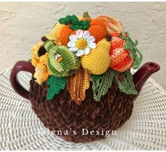 A personal favorite from my Etsy shop https://www.etsy.com/listing/462582186/crochet-tea-cozy-brown-tea-cover