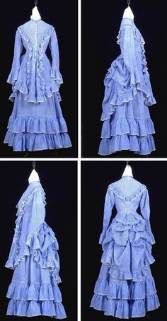 White cotton dress, Ontario, ca. 1866-76, with narrow printed blue tabby stripes & narrow Valenciennes-style machine-made lace edging. Six pearl buttons, each different style. Narrow white braid. Long 2-piece shaped sleeves set into armholes w/cording, bias band, & wide frill at wrist. High neck with narrow lace-edged, stand-up collar, lined w/linen tabby. Skirt cut with 5 gores at front & sides. Pocket slit in skirt panel. Hem faced w/cotton tabby & white tape. Canadian Museum of…
