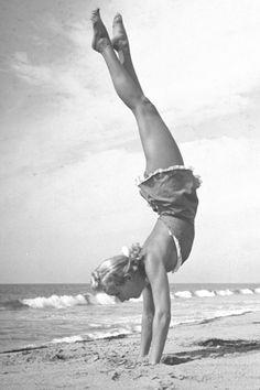 1940: Betty Grable (an American Hollywood actress) article in the LIFE magazine (vintage yoga photo) ...... #vintageyoga #yogahistory #1940s #yogaworld #om #namaste #yoga #actress