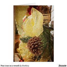 Pine cone on a wreath card