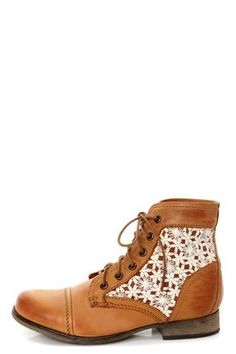 3a837305b45c51 Brace yourself for the Steve Madden Thundr-C Cognac Multi Crocheted Lace-Up  Ankle Boots